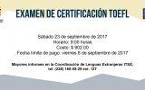Coordinación de Lenguas Extranjeras: EXAMEN DE CERTIFICACIÓN TOEFL